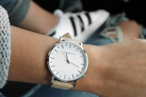 Wrist with wristwatch